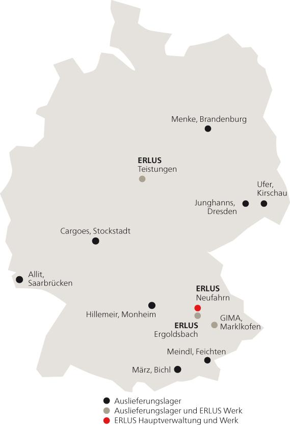 Karte ERLUS Auslieferungslager